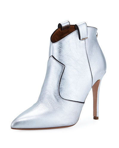 Loretta Metallic Leather Western Booties
