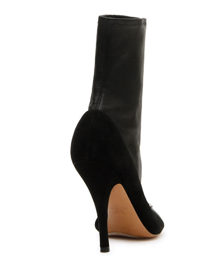 Ring-Toes Napa and Suede Stretch Sock Booties