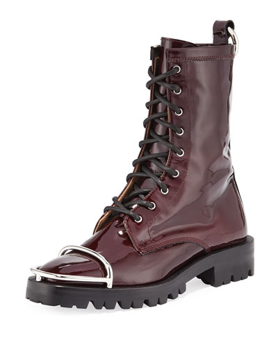 Kennah Patent Leather Combat Boots with Brush Guard