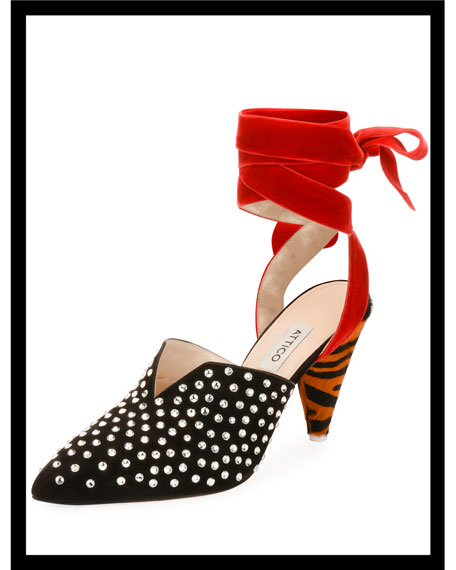 Olivia Crystal-Embellished Suede Pumps with Ankle Wrap