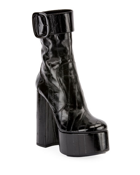 140mm Eel Platform Buckle Booties