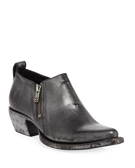 20cc6d12107 Frye Sacha Metallic Leather Zip Short Booties