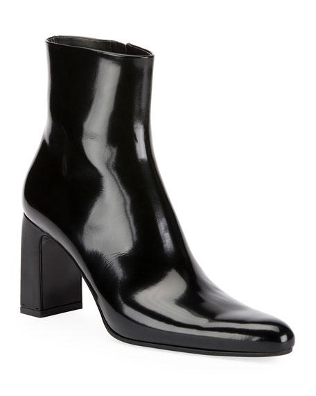 Leather Block-Heel Booties