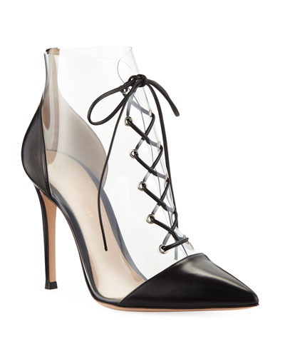 00437a3d8434 Gianvito Rossi Leather and Clear PVC Lace-Up Booties from Bergdorf ...