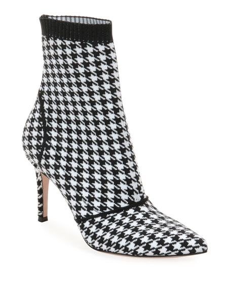 Gianvito Rossi Stretch Booties in Houndstooth