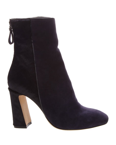 Corella Suede & Calf Hair Block-Heel 90mm Booties, Navy