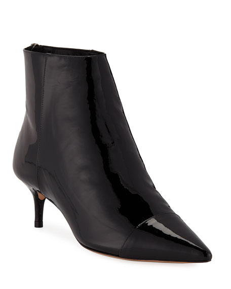 Alexandre Birman Kittie Leather/Patent Point-Toe Booties