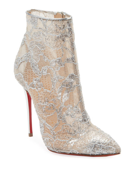 Christian Louboutin Gipsybootie Metallic Lace Red Sole Ankle