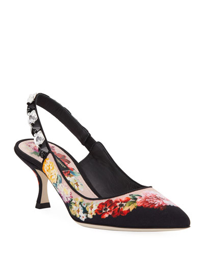 Floral-Print Jeweled Slingback Pumps