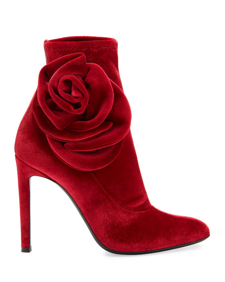 Velvet Stretch Booties with Flower