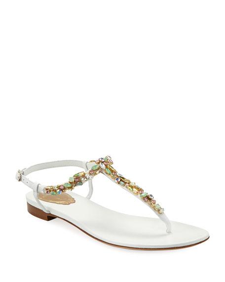 Rene Caovilla Jeweled Flat Thong Sandals