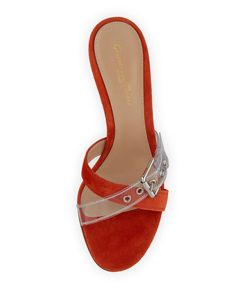 Suede Sandals with Plexi Buckle
