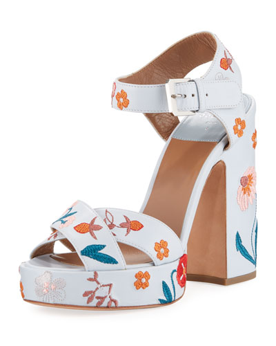 Rosange 120mm Embroidered Sandals with Chunky Heel