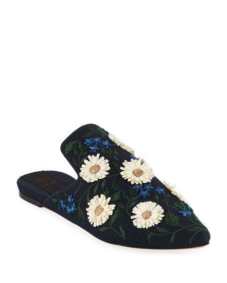 Image 1 of 1: Margherita Flower Embroidered Mules