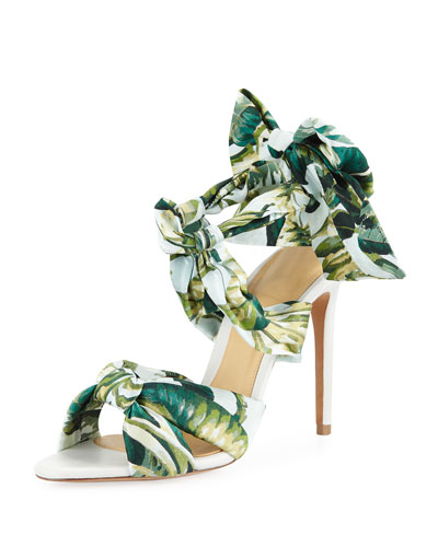Kacey Printed Fabric Ties Stiletto Sandals