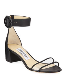 Jaimie Leather And Pvc Block Heel Sandals by Jimmy Choo