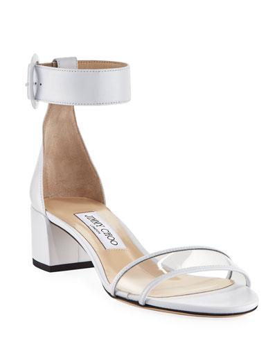 Jaimie Leather and PVC Block-Heel Sandals
