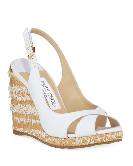 Jimmy Choo Amely Canvas Platform Wedge Sandals