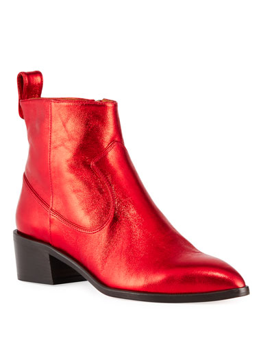Tanner Tumbled Metallic Leather Booties