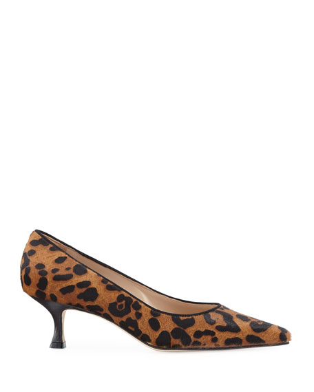 Srila Leopard-Print Fur Low-Heel Pumps
