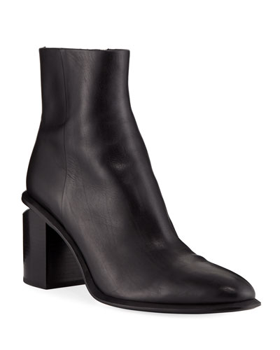 Anna Block-Heel Leather Booties - Rhodium-Tone Hardware