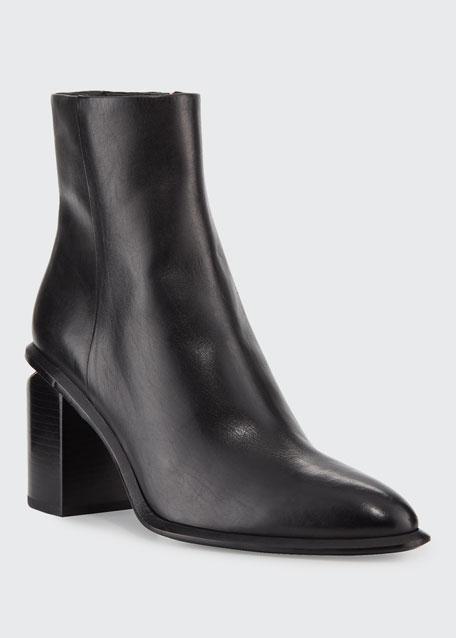 Anna Block-Heel Leather Booties - Rose-Tone Hardware