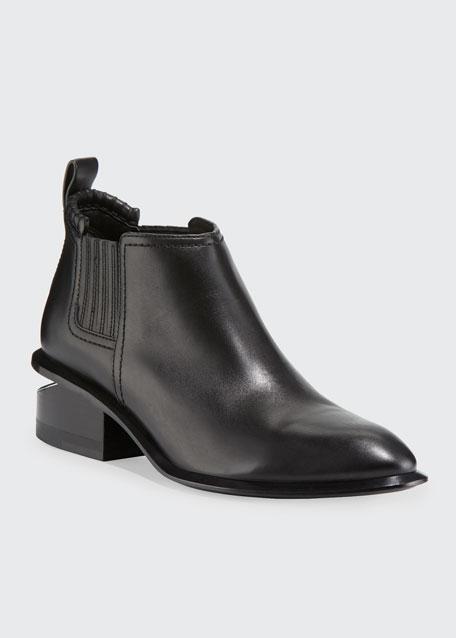 Kori Low-Heel Leather Booties