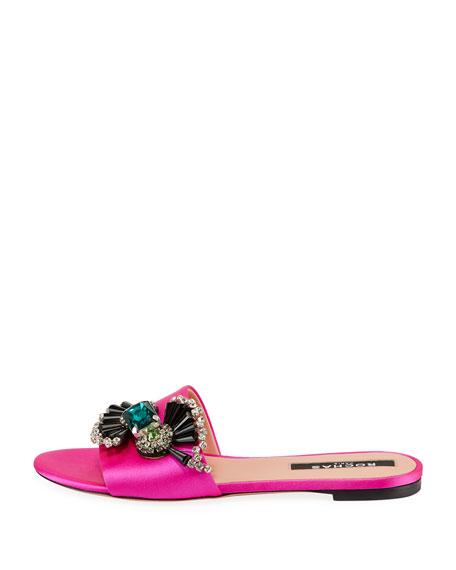 Embellished Satin Flat Sandals