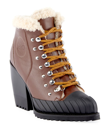 Lace-Up Fur-Trimmed Boots