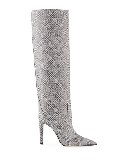 Mavis Plaid Glitter Over-The-Knee Boots