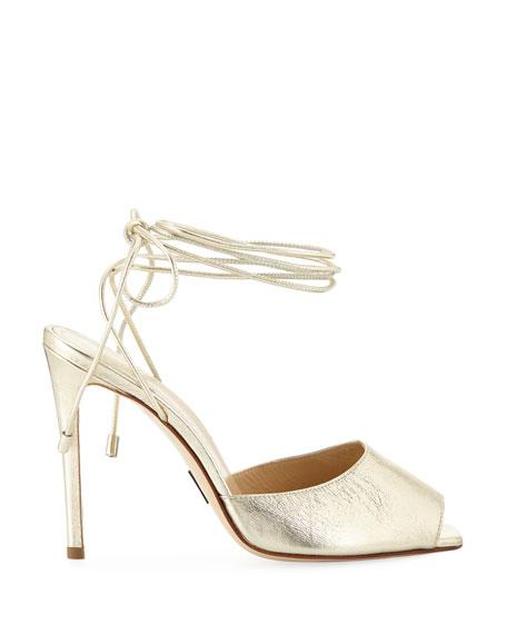 Look At Me Metallic Tie-Up Sandals