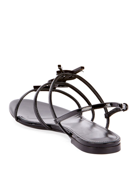 624a2320f712 Saint Laurent Cassandra YSL Logo Flat Patent Sandals