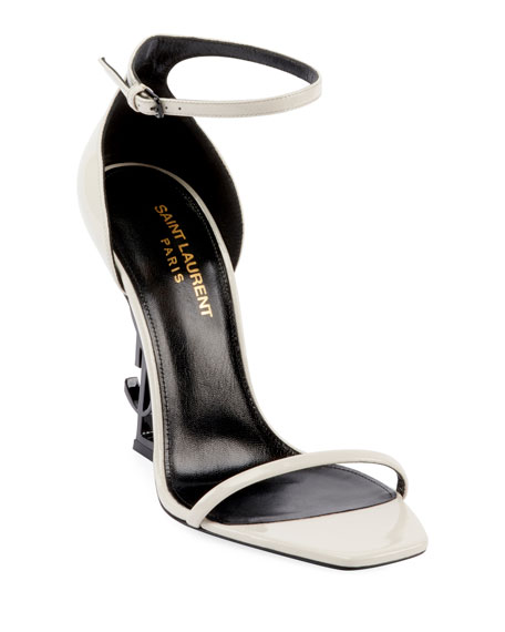 Saint Laurent Opyum YSL Logo-Heel Sandals with Black