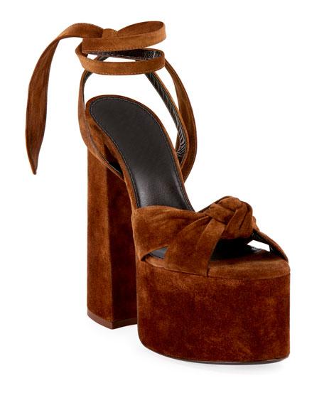 Saint Laurent Paige Platform Suede Sandals