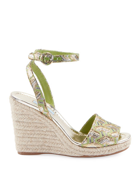 Metallic Brocade Platform Espadrille Sandals