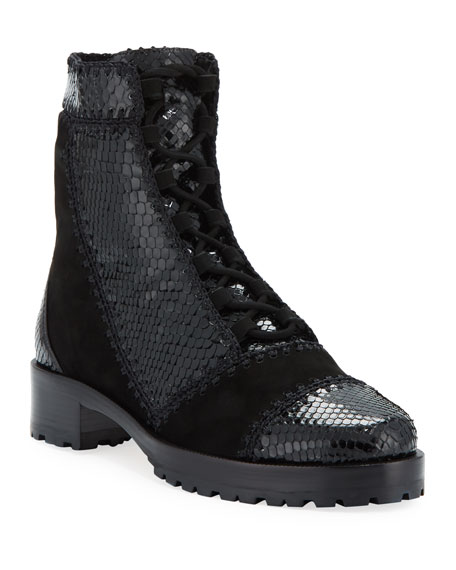 Python and Suede Ankle Booties