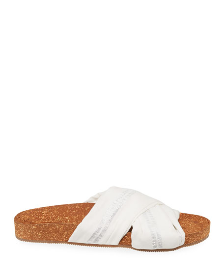 Suki Metallic-Stripe Cotton Cork Flat Sandals