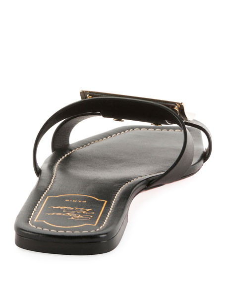 Leather Mules with Metal Buckles