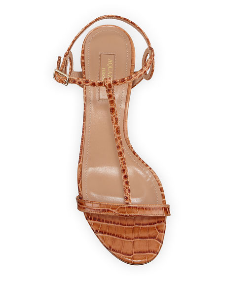 Almost Bare Croc-Print Leather Block-Heel Sandals