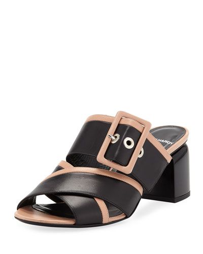 Two-Tone Buckle Sandal Mules