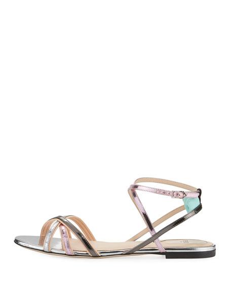 Colibri Metallic Strappy Flat Sandals