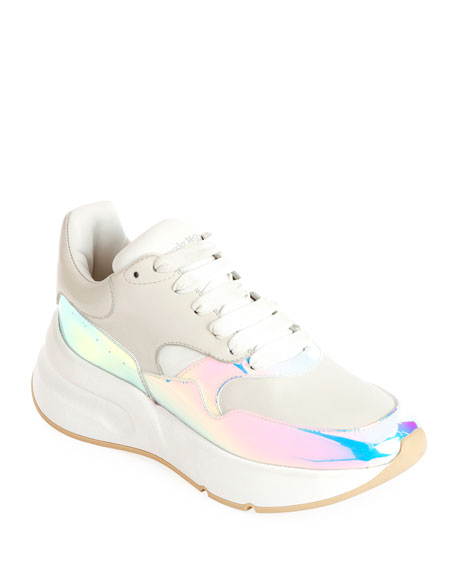 Alexander McQueen Leather and Holographic Lace-Up Platform