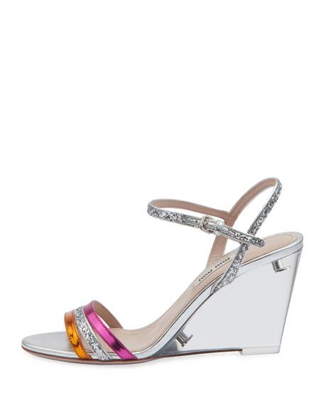 Plexi Glitter and Metallic Wedge Sandals