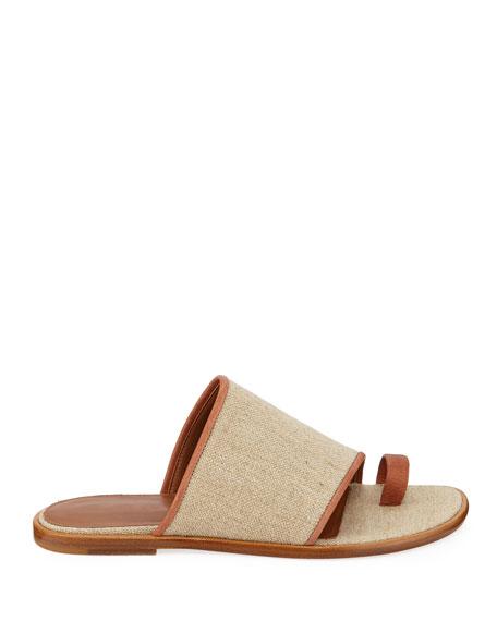 Edan Flat Linen Slide Sandals