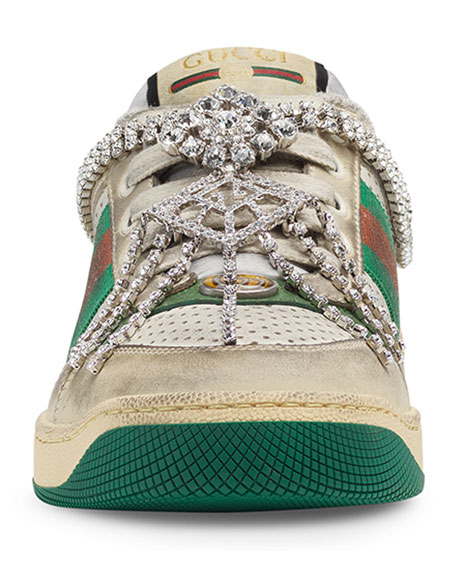 Screener Distressed Sneakers with Crystals