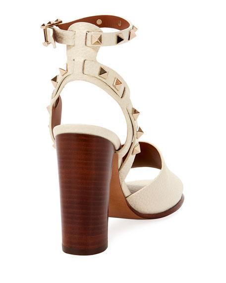 100mm Rockstud Ankle-Wrap Sandals