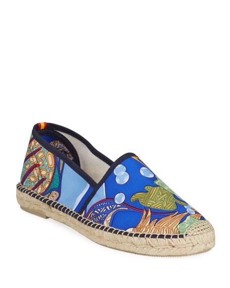 Gala Hermes Flat Silk Espadrilles