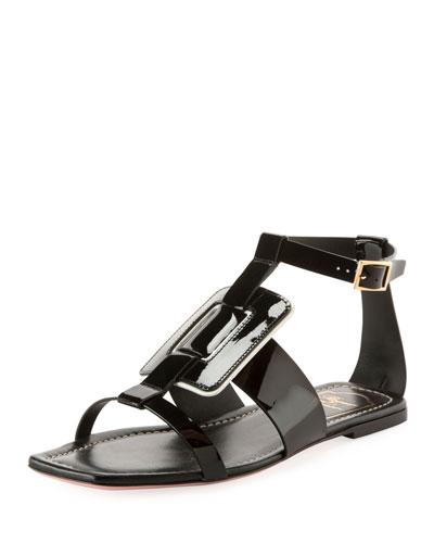 Viv Sellier Patent Flat Sandal