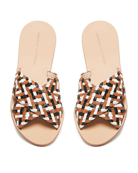 Claudie Woven Leather Slide Sandals