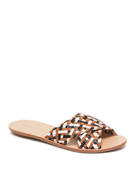 Image 1 of 1: Claudie Woven Leather Slide Sandals